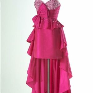 NWT Flirt Maggie Sottero so. 4 pink high/low dress